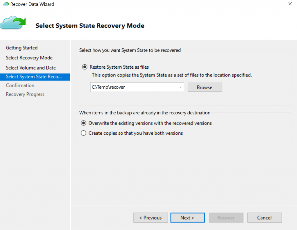 Select System Recovery Mode