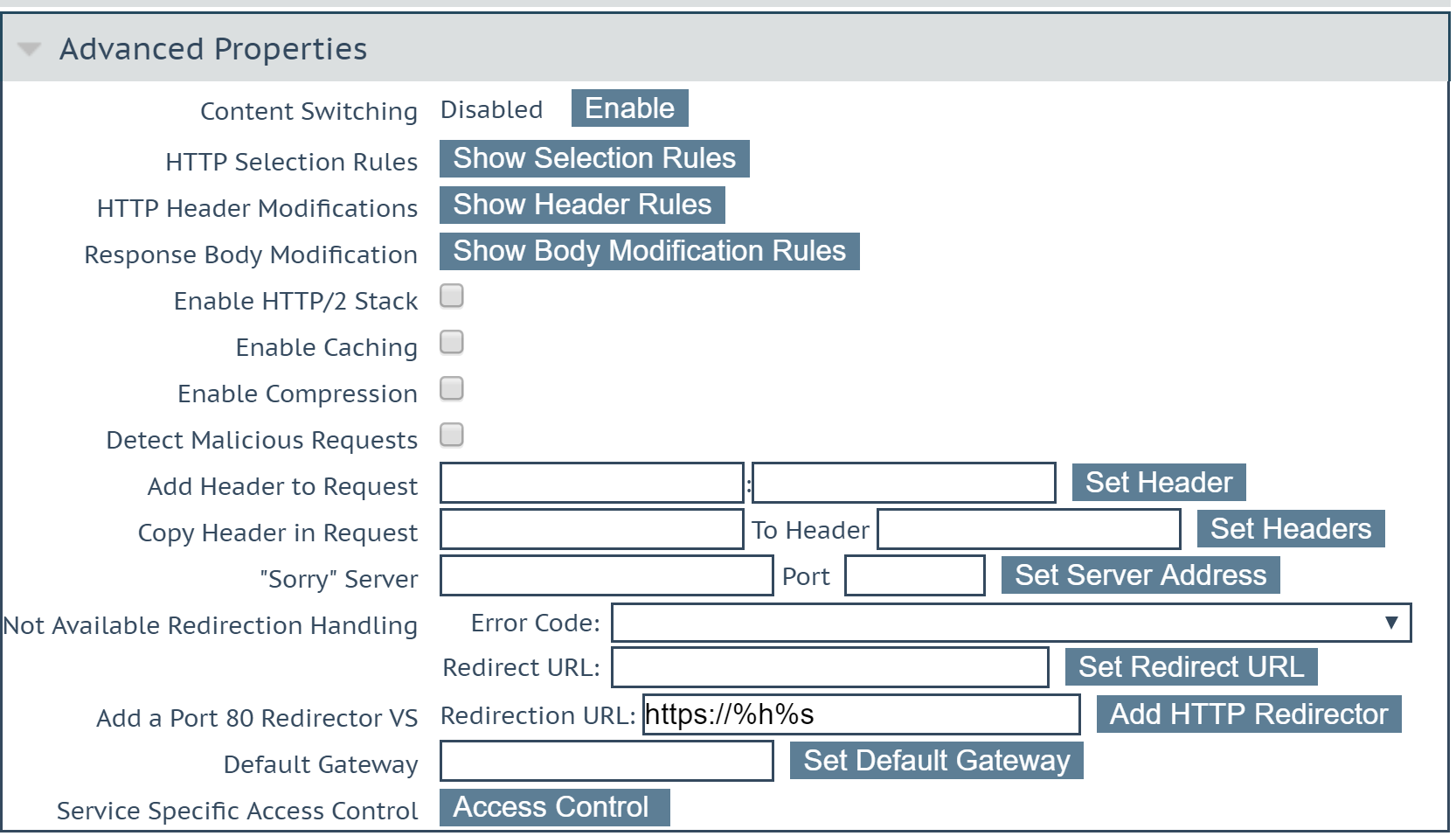 Kemp LoadMaster - Enable Content Switching