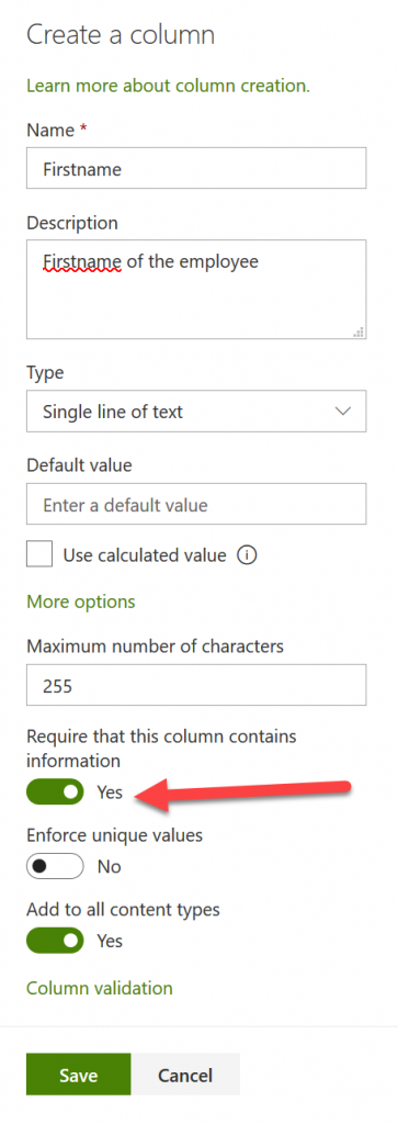 SharePoint Online site - Create a column