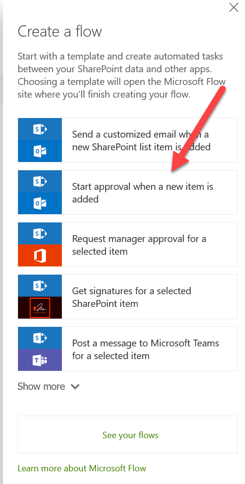SharePoint Online site - Create a flow