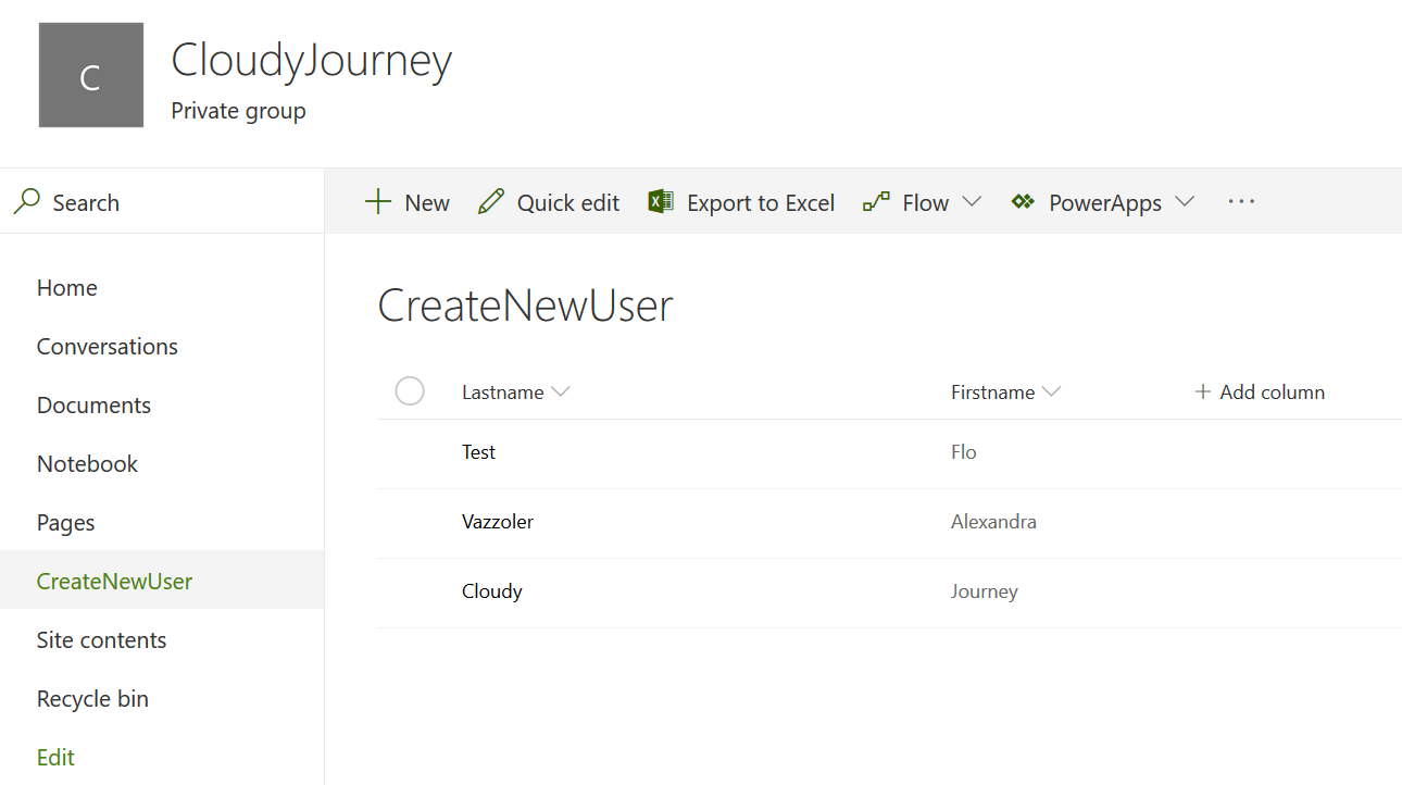 SharePoint Online site - CloudJorney - Create New User