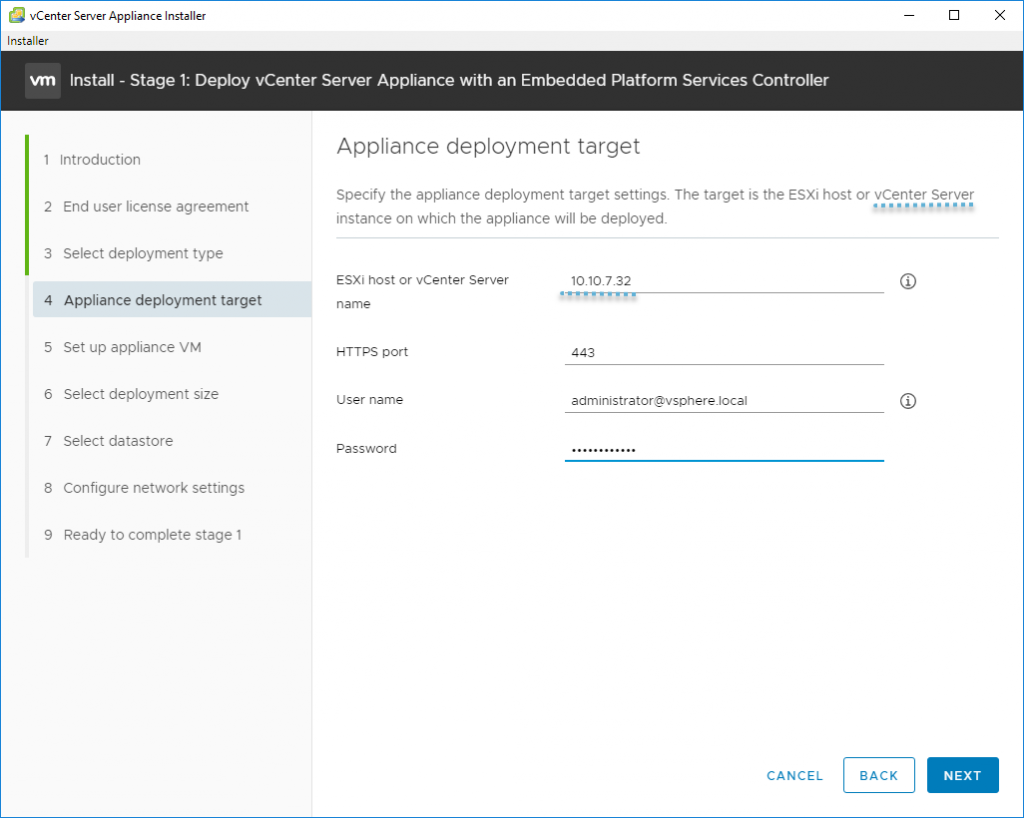 Deploy vCenter Server Appliance with an Embedded Platforms Services Controller