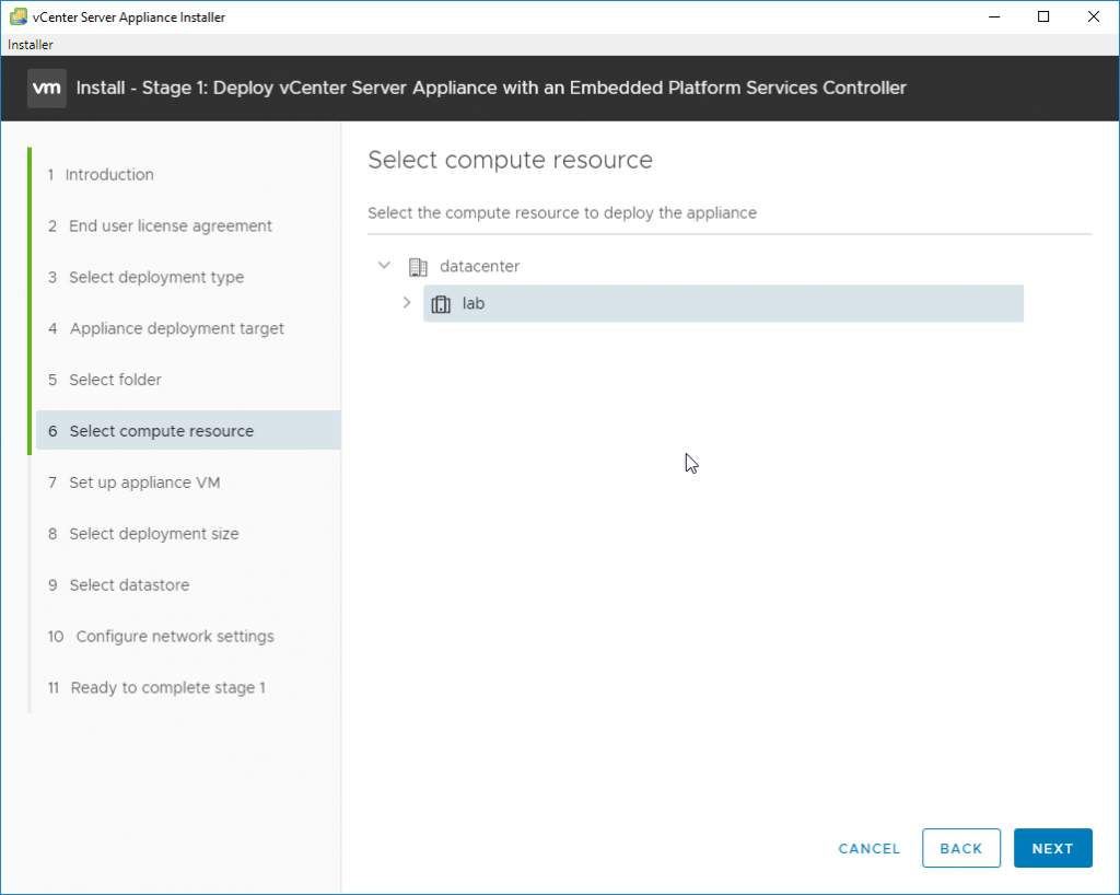 Deploy vCenter Server Appliance with an Embedded Platforms Services Controller - lab