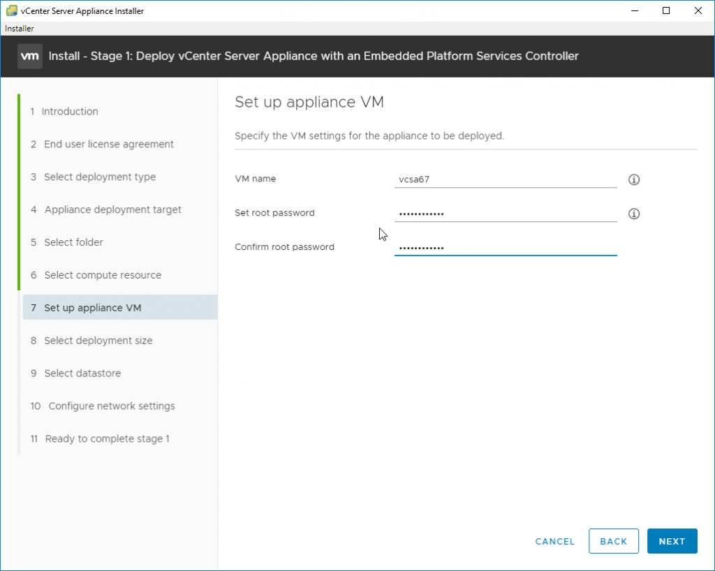 Deploy vCenter Server Appliance with an Embedded Platforms Services Controller - provide VM details