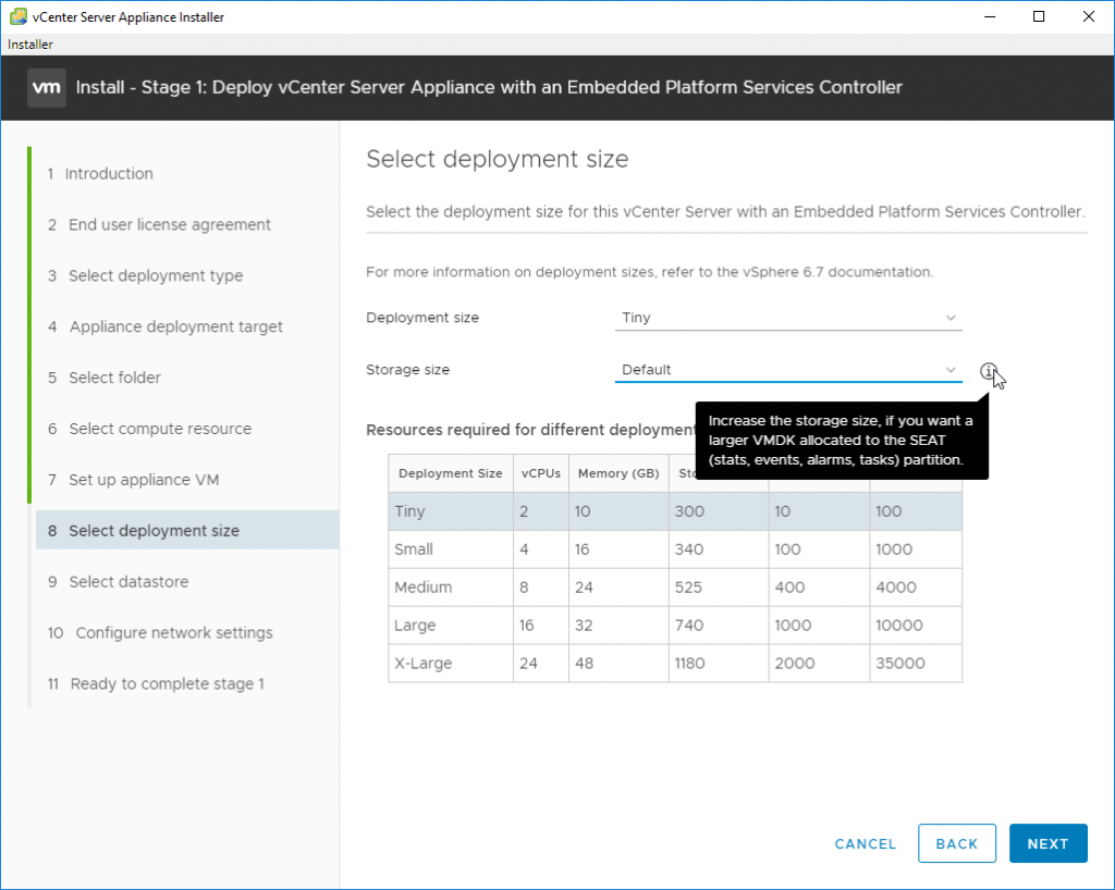 Deploy vCenter Server Appliance with an Embedded Platforms Services Controller - storage size