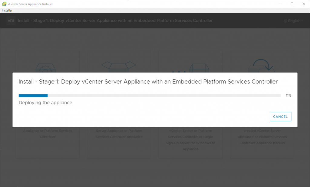 Deploy vCenter Server Appliance with an Embedded Platforms Services Controller - deploying VCSA appliance
