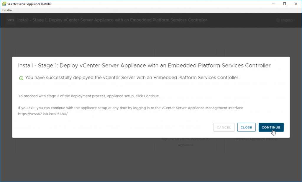 Deploy vCenter Server Appliance with an Embedded Platforms Services Controller - Stage 2