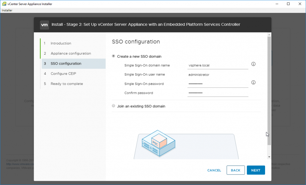 Set Up vCenter Server Appliance with an Embedded Platform Services Controller