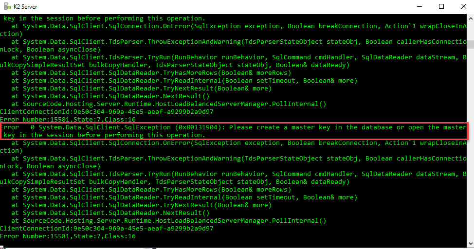 SQL alias adjusting Server name property using cliconfg.exe and start K2 service again to verify the results