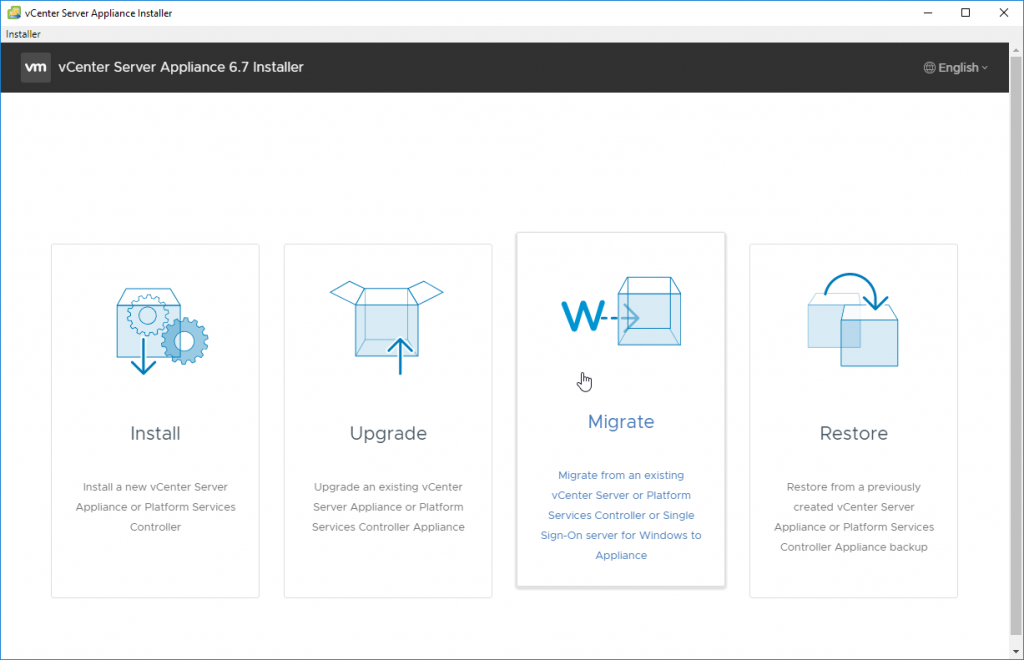 From your management Workstation take the Migrate Option to start migration