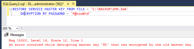 SMK backup file to the new SQL Server