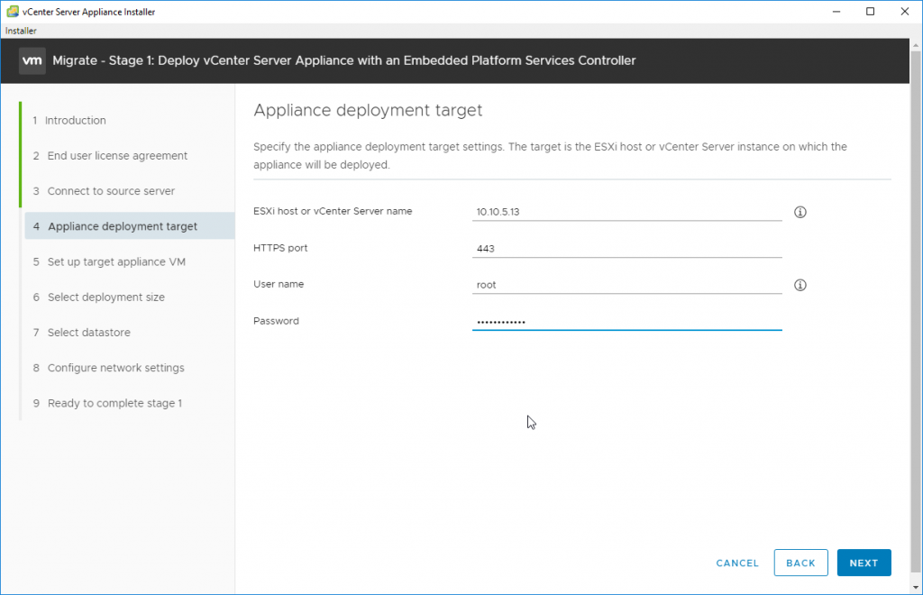 Specify Appliance Deployment Target