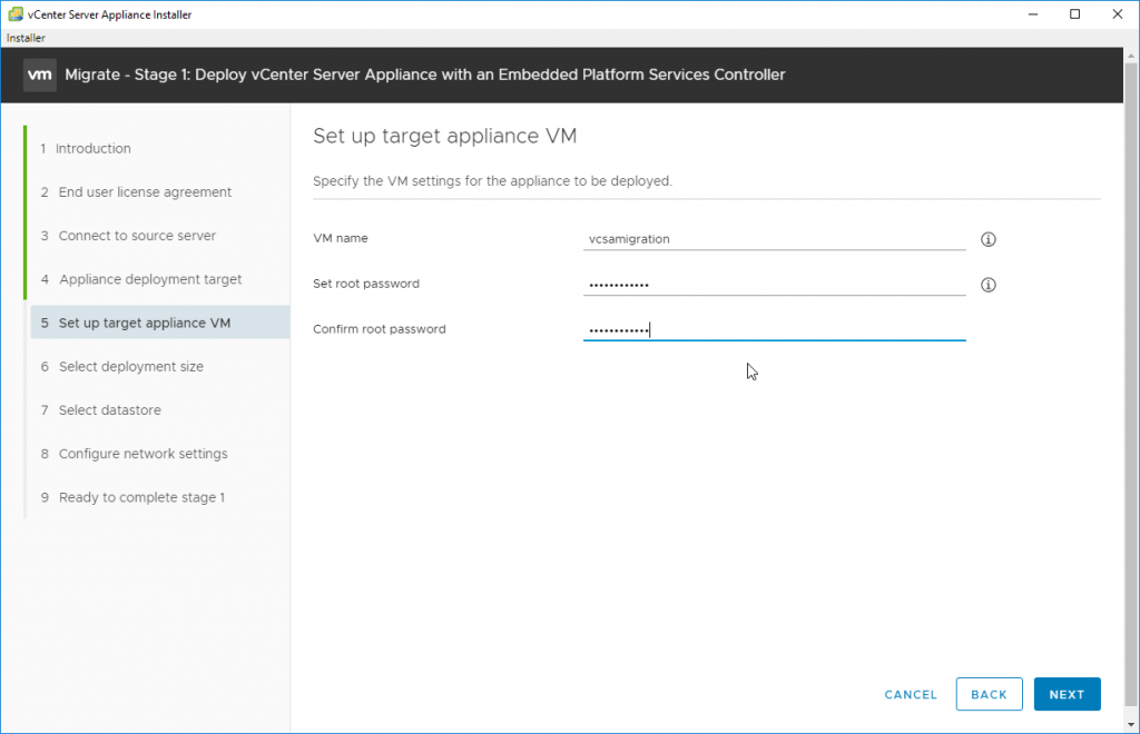 Specify the VM settings for the appliance to be deployed