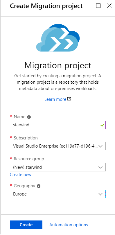Create a new migration project