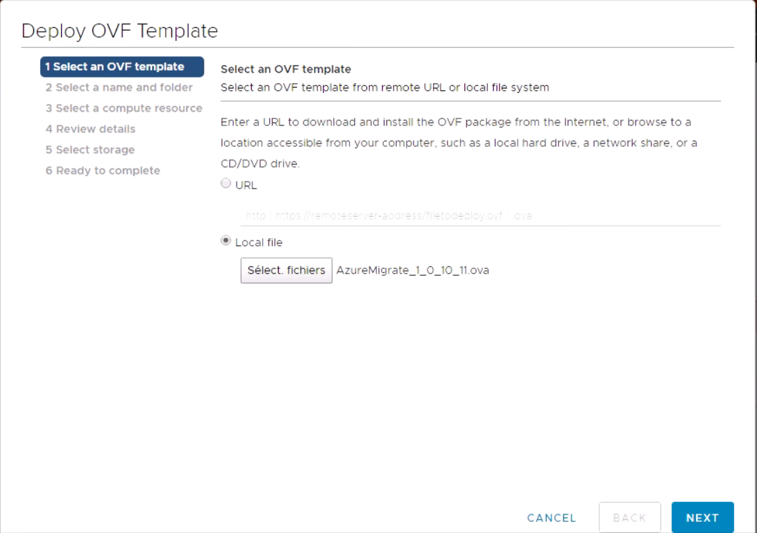 deploy OVF template.