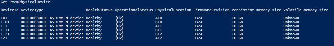 首先,我們使用Get-PmemPhysicalDevice列出物理內存設備