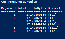 create logical PMEM disks with via Get-PmemUnusedRegion