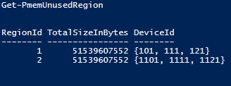 at Get-PmemUnusedRegion and you'll see 2 regions now each consisting of 3 physical PMEM devices