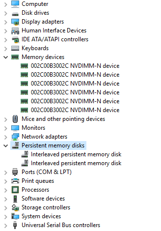Configure NVDIMM-N on a DELL PowerEdge R740 with Windows Server 2019