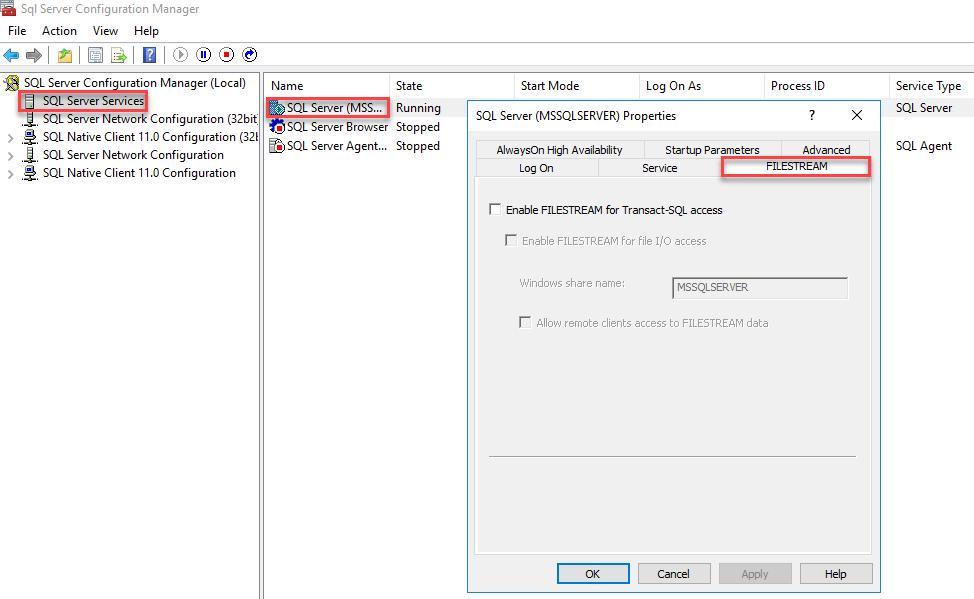 SQL Server properties