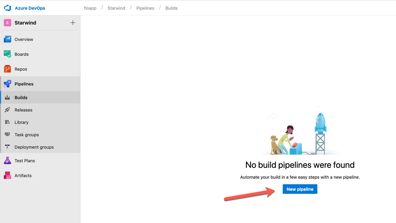 Click on Pipelines > Builds > New Pipeline