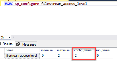Executing this command will change your config_value from 0 to 2
