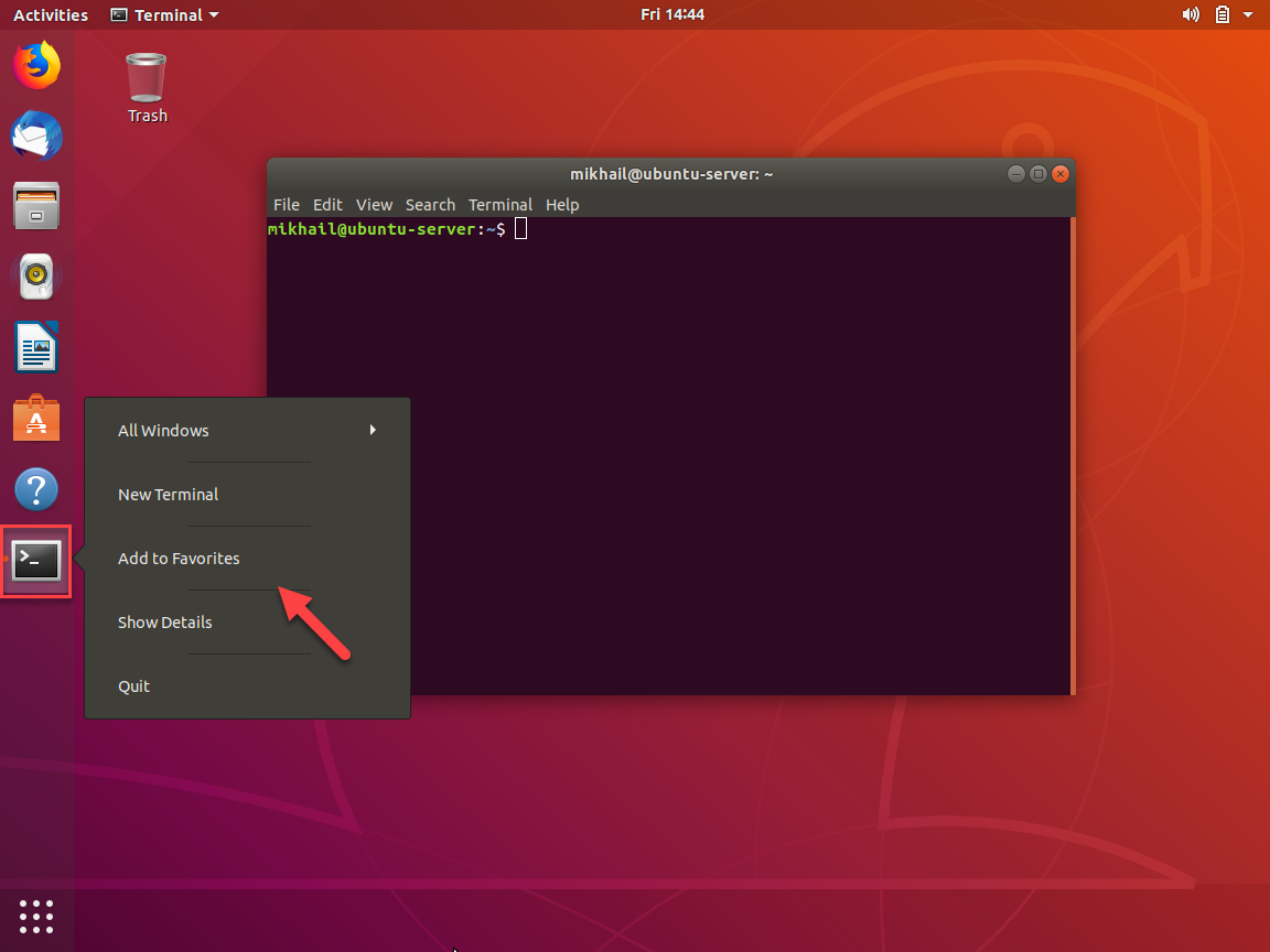 Once Terminal window opened you can add its icon to favorites for quick access