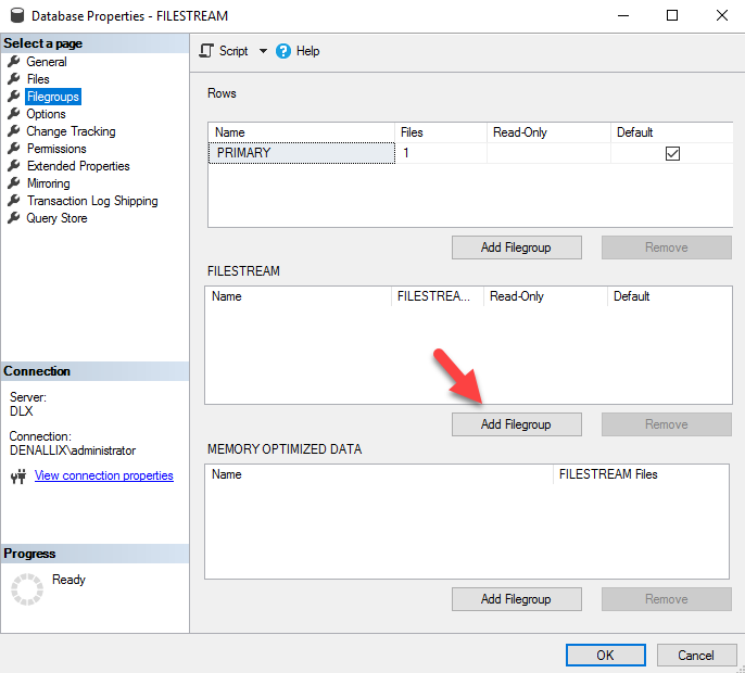 add FILESTREAM enabled file group and file and start using FILESTREAM
