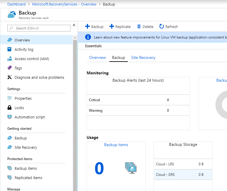 Open the Azure Recovery Service Vault and select + Backup