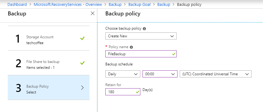 Provide a name and configure the backup schedule and the retention