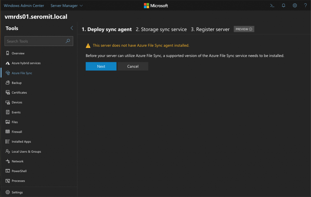 Enable Azure File Sync from Windows Admin Center | StarWind Blog