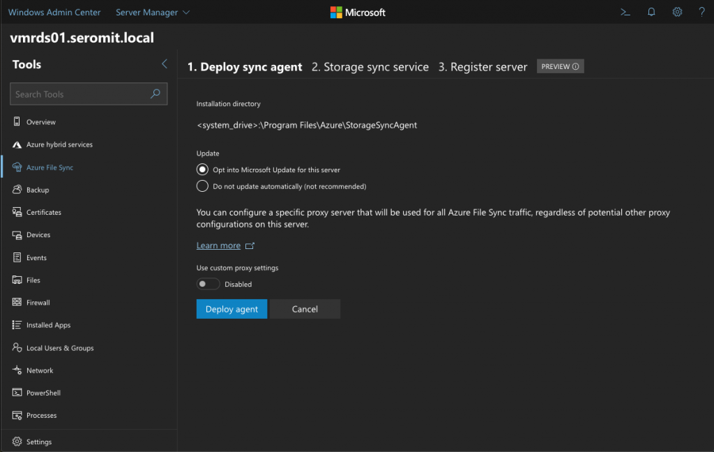 Choose to update the agent from Windows Update and you can define a proxy