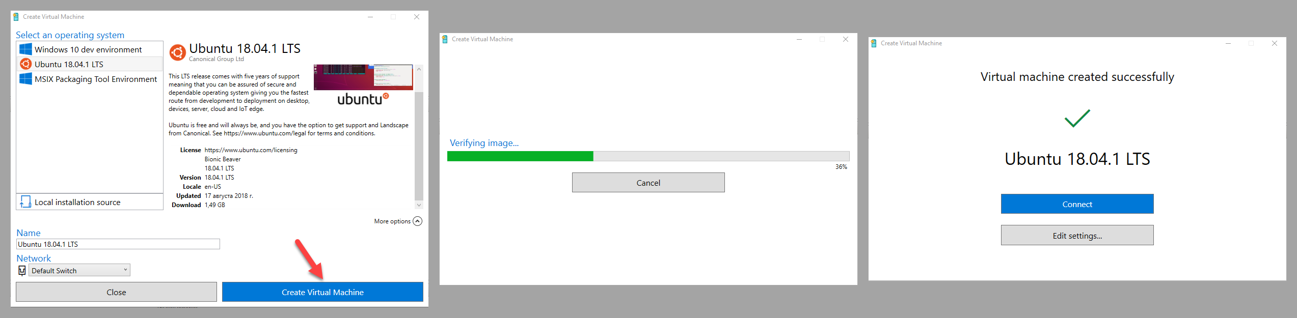 A quick test can get you up and running with Ubuntu Hyper-V VM just in a few clicks