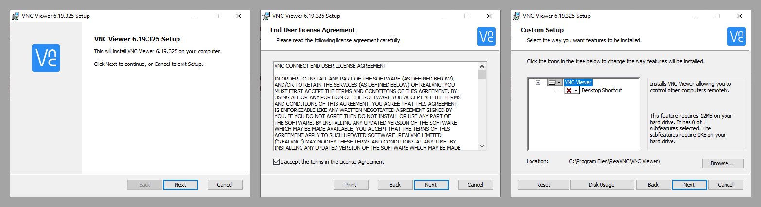 VNC viewer installed