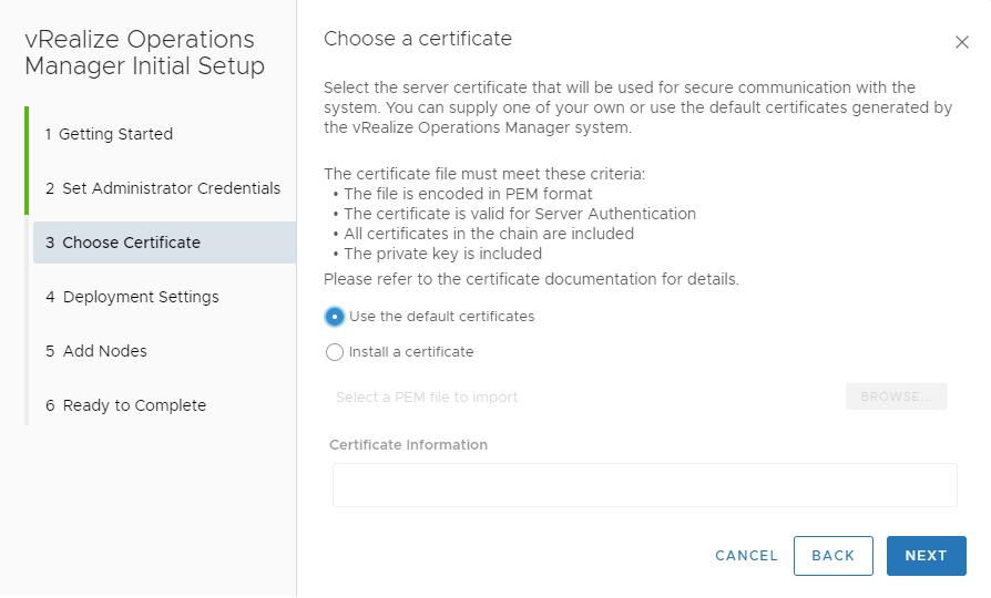 Chose a certificate installation