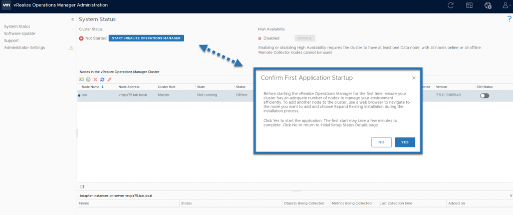 Start the vRealize Operations Manager