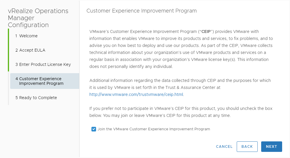 VMware customer experience improvement program