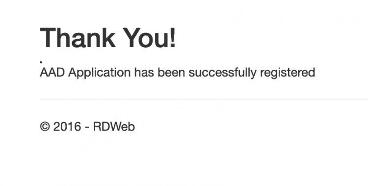 Application has been succesfully registered