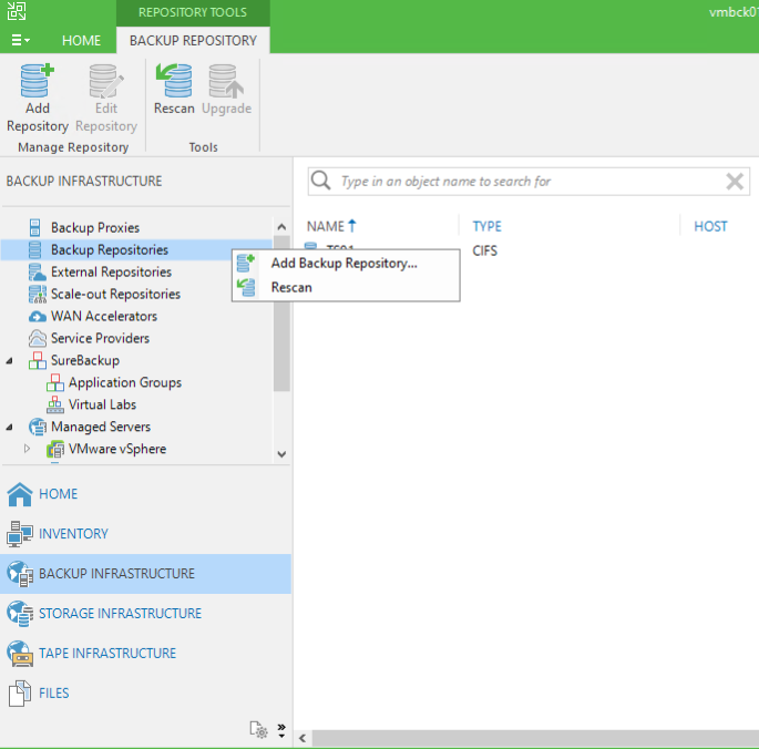 Add the Storage Account as backup repository in Veeam