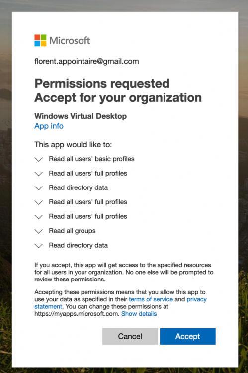 Permission Windows Virtual Desktop concent page