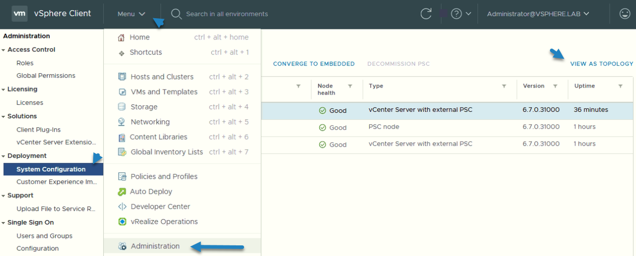 Access the vSphere System Administration UI