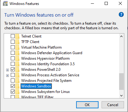 Sandbox mode is easily installed via the windows features menu