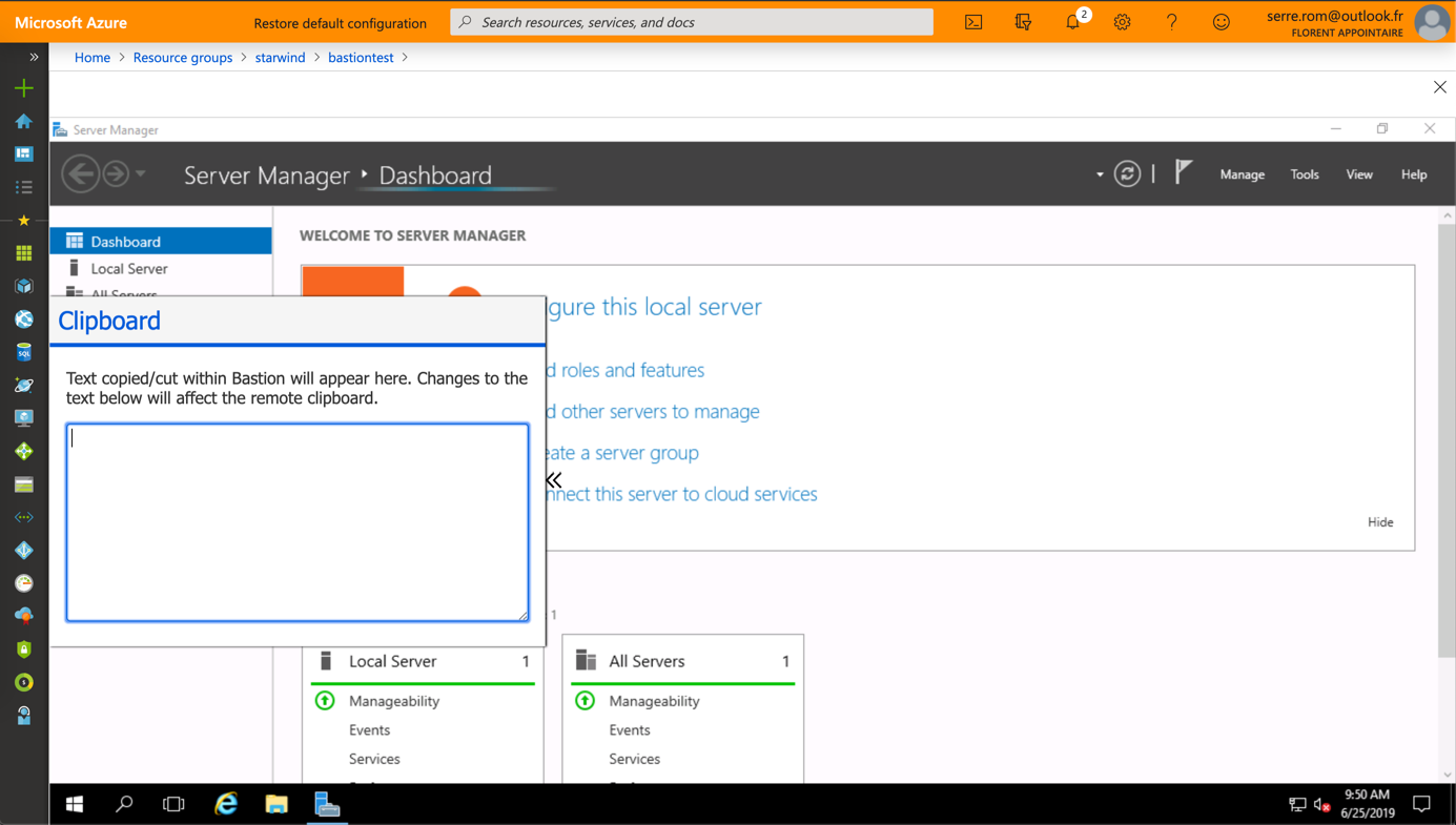 RDP session is opened in the Azure Portal over SSL