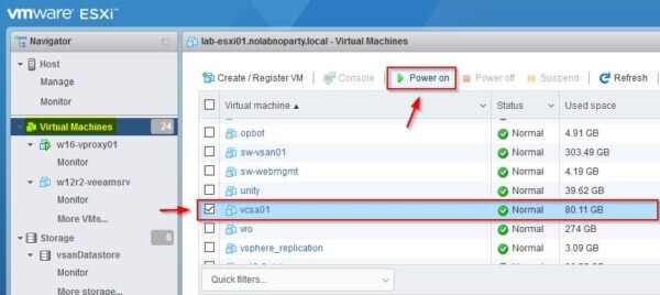 Select the vCSA and click on Power on button