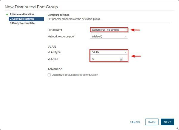 Specify a VLAN type and VLAN ID