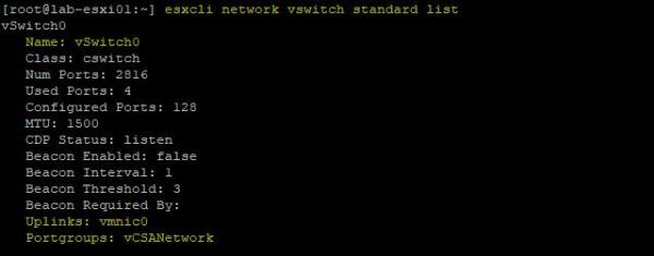 Check both uplink and port group assigned to vSwitch0