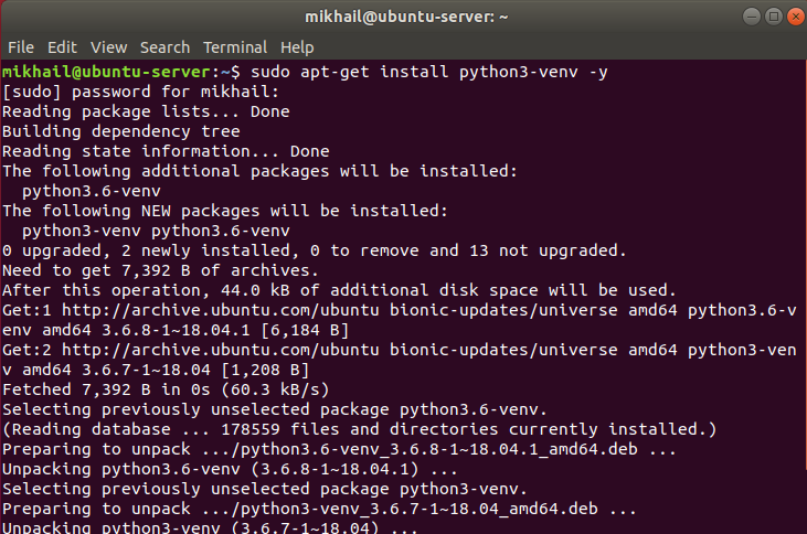 Use sudo apt-get install python3-venv -y to install python3-venv