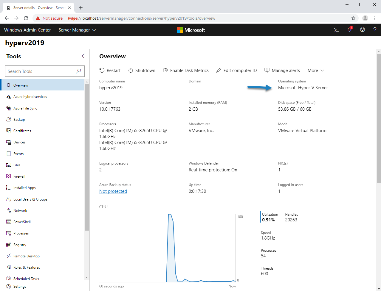 Manage HyperV 2019 with Windows Admin Center