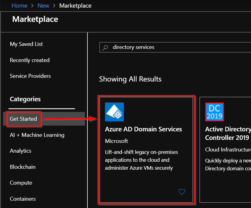 Azure AD Domain Services page