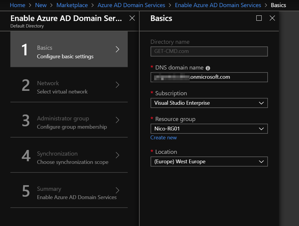 Configure the AADDS basic settings